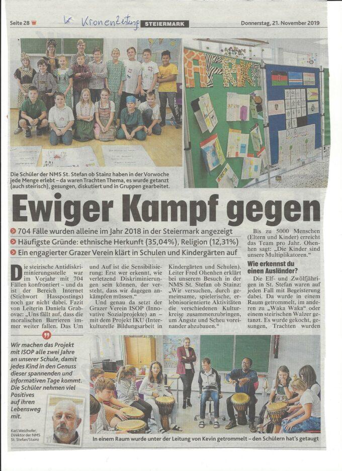 Ewiger Kampf gegen Diskriminierung, Krone 21.11.2019 a