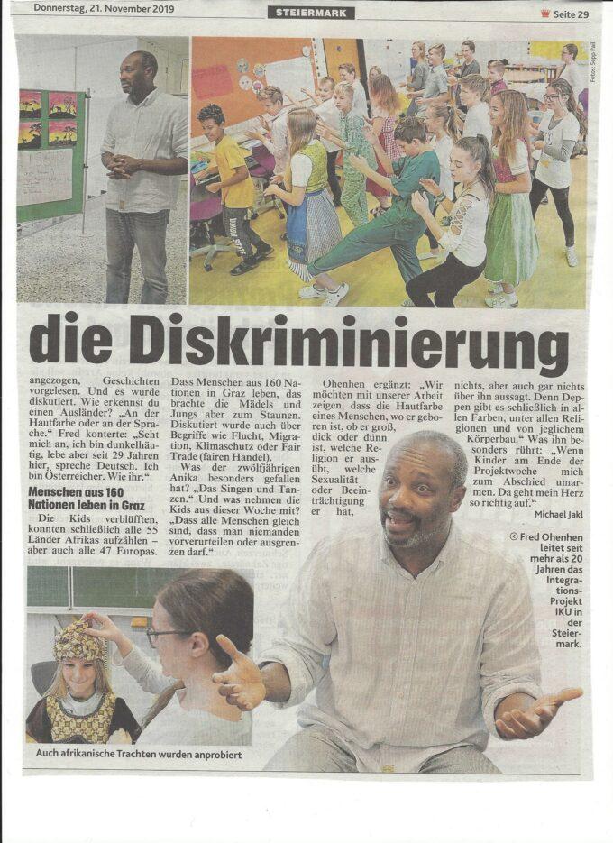 Ewiger Kampf gegen Diskriminierung, Krone 21.11.2019 b